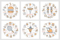 Sex linjära begrepp av picknickmat och utrustning stock illustrationer