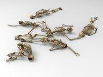 Sex mänskliga skelett stock illustrationer