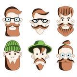 Sex manliga hipstershuvud på vit royaltyfri illustrationer