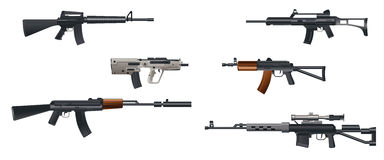 Sex maskingevär Fotografering för Bildbyråer