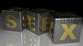 SEX Metallic cubes. Three metallic cube with the word SEX Royalty Free Stock Images