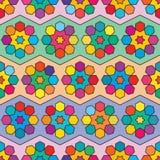 Sex modell för färgrik symmetri för stjärnasexhörningssparre sömlösa vektor illustrationer
