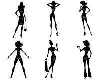 Sex moderna flickor vektor illustrationer