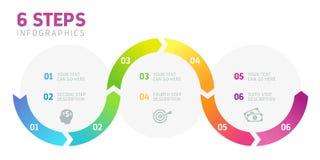 Sex moment Infographics, affärsframgång Royaltyfria Bilder