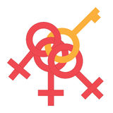 Sex money cling symbol. Gender man and woman connected symbol. Male and female abstract symbol. Vector Illustration Royalty Free Stock Images