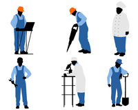 Sex olika arbetare stock illustrationer