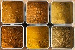 Sex olika kryddablandningar Arkivfoto
