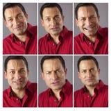 Sex olika manliga uttryck Arkivfoto