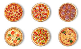 Sex olika pizzauppsättning för meny Royaltyfri Fotografi