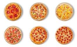 Sex olika pizzauppsättning för meny Royaltyfri Bild