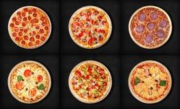 Sex olika pizzauppsättning för meny Köttpizza med 1 peperoni 2Pepperoni och delux för peperoni för margarita 5Pizza för salami 4  Arkivfoto