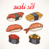 Sex olika sorter av sushi Royaltyfri Bild