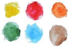 Sex olika vattenfärgfläckar royaltyfri illustrationer