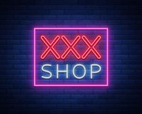 Sex Pattern Logo, Sexy xxx concept for adults in neon style. Neon sign, design element, storage, prints, facades, window Royalty Free Stock Photos