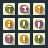 Sex plana symboler för funktionsdugliga hjälpmedel Royaltyfri Foto