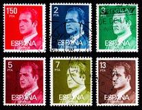 Sex portostämplar från serie för konung Juan Carlos I, circa 1976-198 Arkivbild