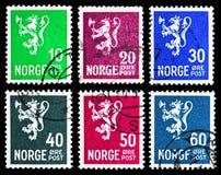 Sex portostämplar från serie för lejontyp II, circa 1940 Fotografering för Bildbyråer