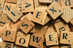 Sex and Power. Jumble of block letters, amongst which, the words sex and power can be discerned Stock Image