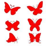 Sex röda konturer av fjärilar på en vit bakgrund vektor illustrationer