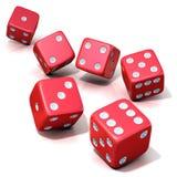 Sex röda lek tärnar Arkivfoton