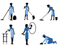 Sex rengörande arbetare vektor illustrationer