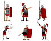 Sex roman krigare vektor illustrationer