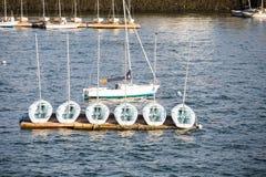 Sex segelbåtar på skeppsdocka med en i vatten Arkivbilder