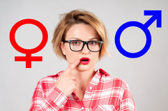 Sex selection. Gender symbol pink and blue icon. Gender symbol pink and blue icon. Choosing between genders. Sex selection Royalty Free Stock Photo