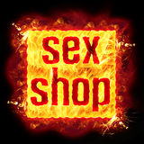Sex Shop Fire Banner. Sex shop fire badge banner with burning flames Stock Photos