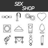 Sex shop icons set Stock Image