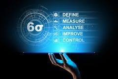 Sex Sigma, lutar tillverkning, kvalitets- kontroll och industriella processen som förbättrar begrepp vektor illustrationer