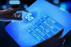 Sex Sigma, lutar tillverkning, kvalitets- kontroll och industriella processen som förbättrar begrepp royaltyfri bild