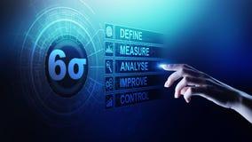 Sex Sigma, lutar tillverkning, kvalitets- kontroll och industriella processen som f?rb?ttrar begrepp arkivbild