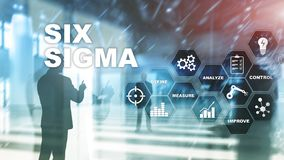 Sex Sigma, tillverkning, kvalitets- kontroll och industriell process som förbättrar begrepp Affär, internet och tehcnology vektor illustrationer