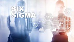 Sex Sigma, tillverkning, kvalitets- kontroll och industriell process som f?rb?ttrar begrepp Aff?r, internet och tehcnology stock illustrationer