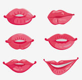 Sex of six pink female lips Stock Photography