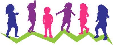 Sex små barn i rörelse stock illustrationer