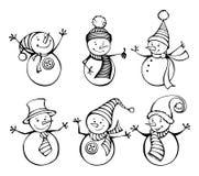 Sex snögubbear som isoleras på vit bakgrund royaltyfri illustrationer