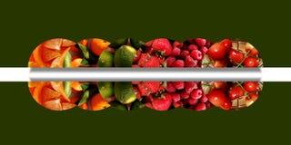 Sex spegelförsedda halvcirklar mycket av olika frukt- texturer royaltyfri illustrationer
