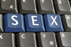 Sex spelled on computer keyboard. Word sex spelled on computer keyboard stock image