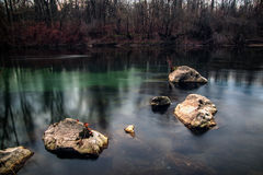 Sex stenar i en grund flod Royaltyfri Bild