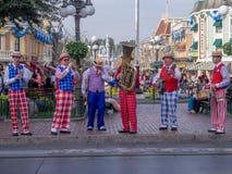 Sex styckmusikband på Main Street USA på Disneylanden Arkivfoto