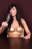 Sex success. Rich successfull woman drinking white wine on table stock photos