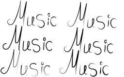 Sex svarta ordinskrifter av musik som är skriftliga i olika stilar och bokstäver på en vit bakgrund i mitten royaltyfri illustrationer