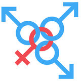 Sex swedish family symbol. Gender man and woman connected symbol. Male and female abstract symbol. Vector Illustration Stock Image