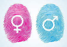 Sex Symbol. Male and Female Symbols in thumbprint Royalty Free Stock Photos