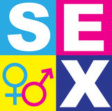 Sex Symbol. A graphic representation of sex, love and relationships between man and women in the context of sex education. Using text, graphics and alchemical Royalty Free Stock Image