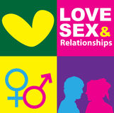 Sex Symbol. A graphic representation of love, sex and relationships between man and women in the context of sex education. Using text, graphics and alchemical Royalty Free Stock Photo