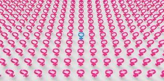 Sex symbol femeninos rosados principales de la igualdad del feminismo de las mujeres del ejército 3D de los hombres masculinos ai Fotos de archivo libres de regalías