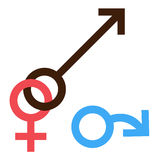 Sex symbol. Gender man and woman interracial treason connected symbol. Male and female abstract symbol. Vector Illustration Royalty Free Stock Images